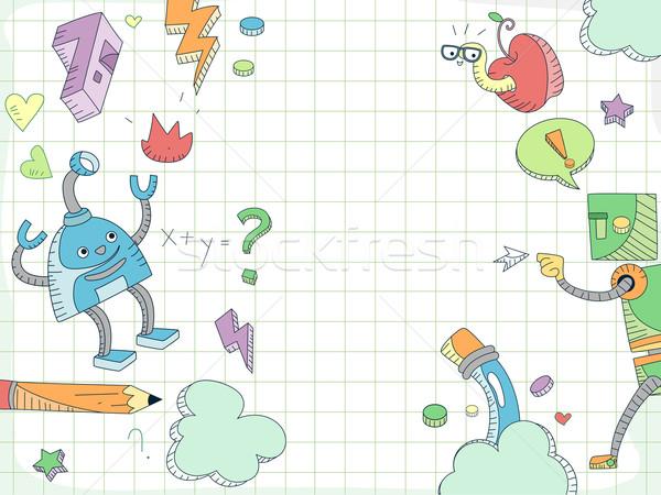 Stockfoto: Onderwijs · doodle · robots · ontwerp · achtergrond · cartoon