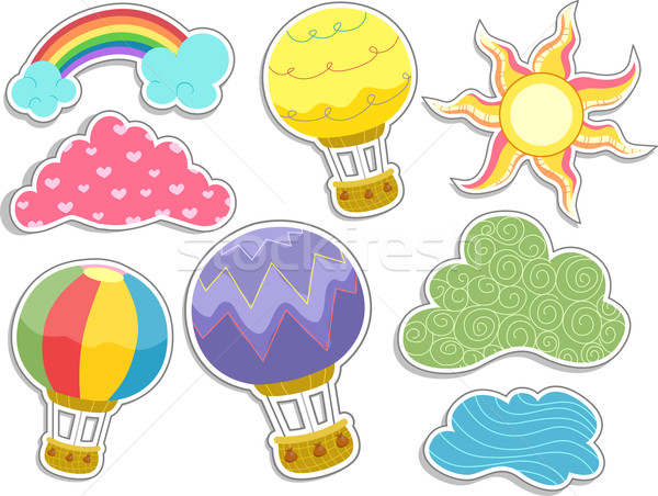 Hot Air Balloons and Clouds Sticker Designs Stock photo © lenm