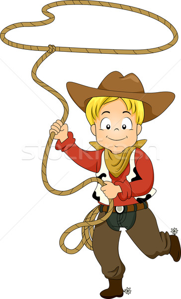 Kid Cowboy with Rope Stock photo © lenm