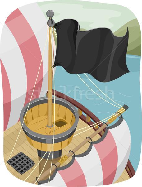 гнезда иллюстрация пиратских флаг судно Сток-фото © lenm