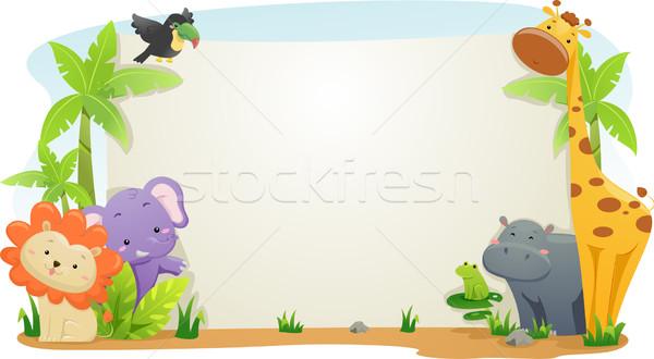 Safari dier banner illustratie cute safari dieren Stockfoto © lenm