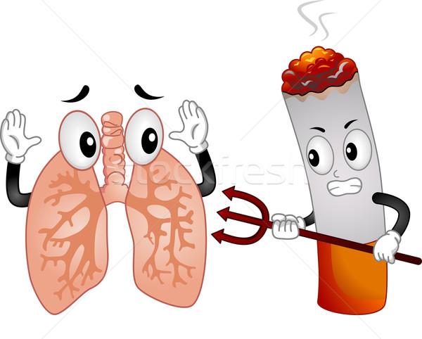 Kötü sigara maskot örnek işaret korkmuş Stok fotoğraf © lenm