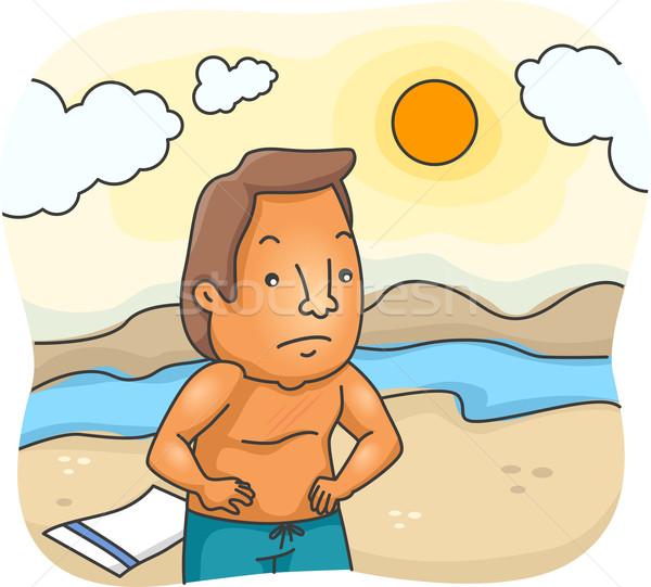 Uomo illustrazione infelice scottature spiaggia maschio Foto d'archivio © lenm