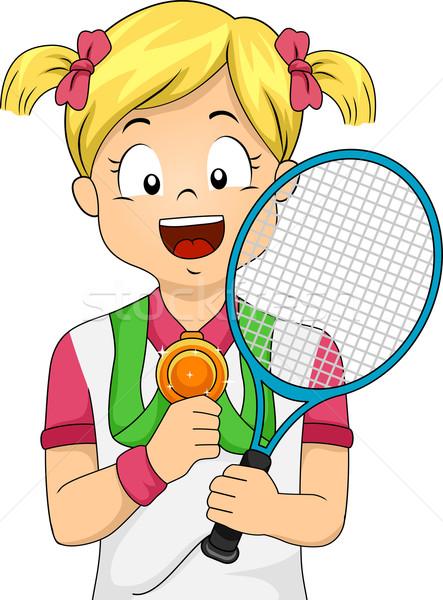 Tennis Medal Girl Stock photo © lenm
