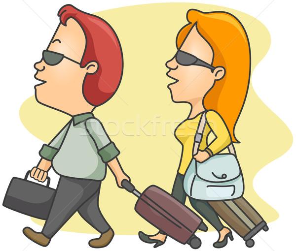 Vrouw man kleding cartoon bagage Stockfoto © lenm