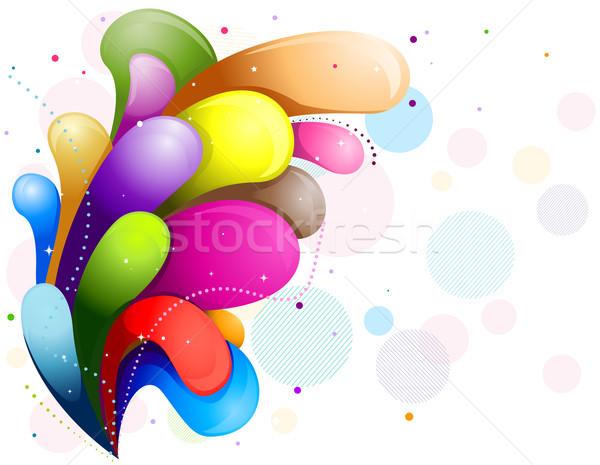 Résumé Rainbow tourbillons blanche cadre Photo stock © lenm