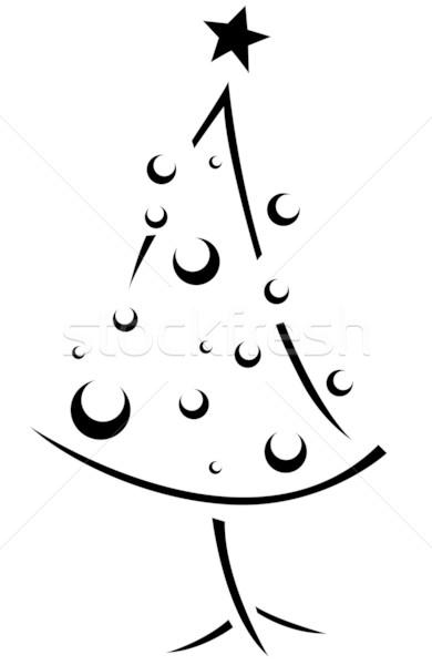 Stockfoto: Christmas · stencil · kerstboom · retro · kijken · cartoon