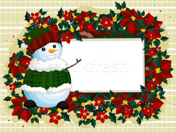 Sneeuwpop frame illustratie permanente naast achtergrond Stockfoto © lenm