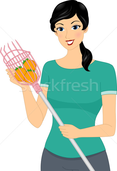 Stock photo: Girl Fruit Picking Tool