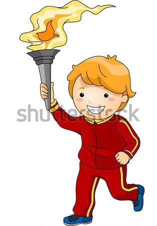 Homme lampe de poche illustration officielle up Photo stock © lenm