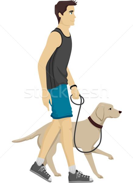 Man Dog Walk Stock photo © lenm