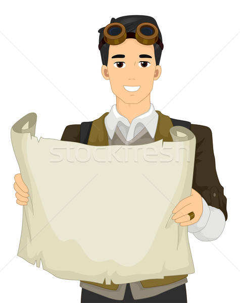 Homme steampunk papier illustration costume Photo stock © lenm