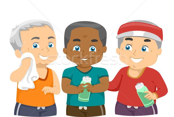 Idős férfiak testmozgás haver illusztráció idős Stock fotó © lenm