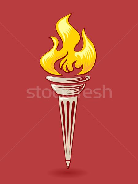 Lampe de poche rouge illustration or lumière design Photo stock © lenm