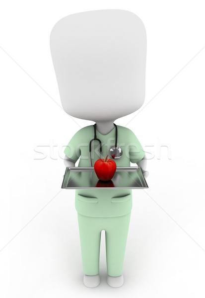 Foto stock: Maçã · dia · ilustração · 3d · enfermeira · médico