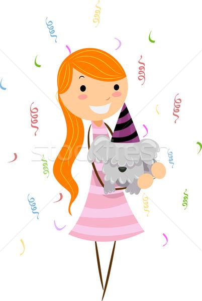 рождения собака иллюстрация девушки вечеринка Сток-фото © lenm