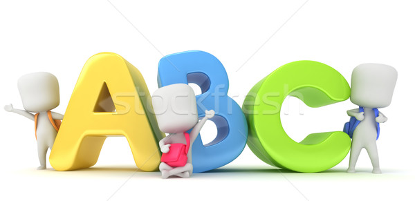 Alphabet 3d illustration enfants posant lettres étudiant Photo stock © lenm