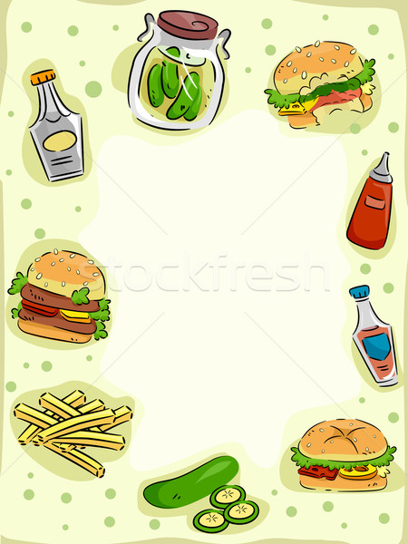 Stockfoto: Hamburger · frame · illustratie · augurken · ontwerp