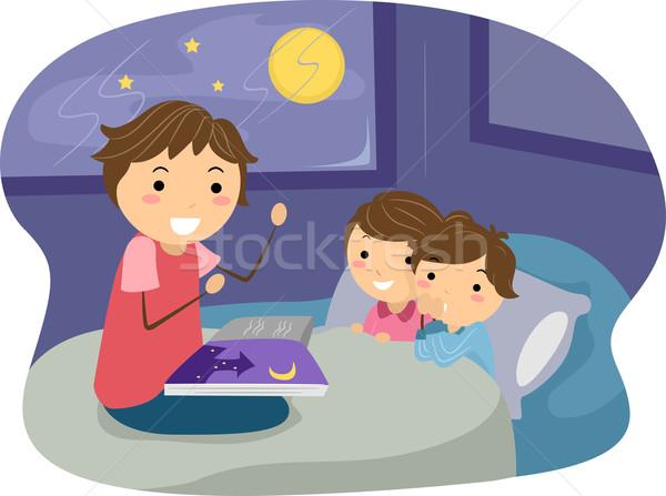 Esti mese illusztráció gyerekek hallgat férfi gyermek Stock fotó © lenm
