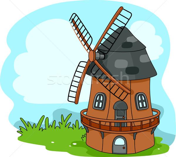 Molino de viento ilustración energía Cartoon vector detalle Foto stock © lenm