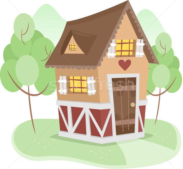 Domek ilustracja odizolowany domu architektury nieruchomości Zdjęcia stock © lenm