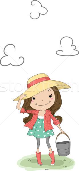 Chica de campo ilustración cubo nina nino Foto stock © lenm