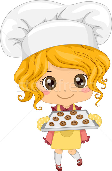 Little Girl Baking Cookies Stock photo © lenm