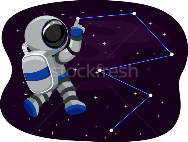 Stock photo: Astronaut in Space tracing Stars