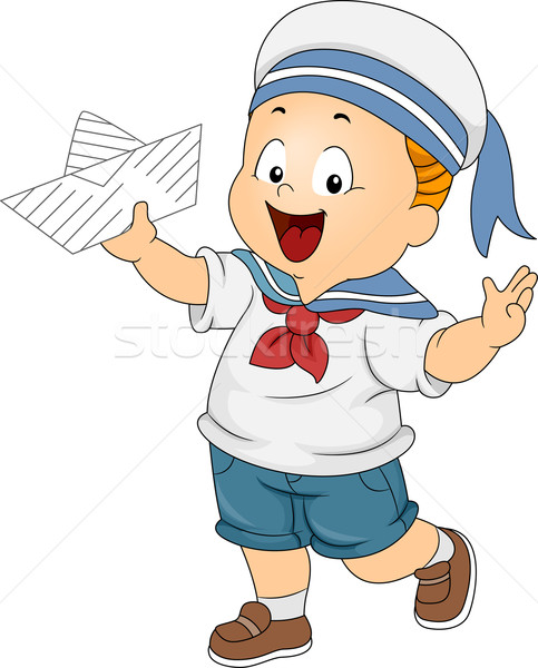 Toddler Boy Wearing a Sailor Costume Stock photo © lenm