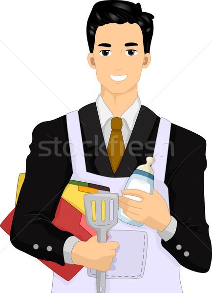 Homem trabalhos domésticos ilustração terno avental Foto stock © lenm