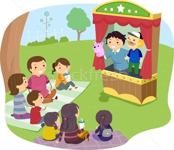 Família fantoche mostrar ilustração assistindo crianças Foto stock © lenm