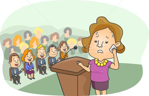 Színpad ijedtség illusztráció lány aggódó néz Stock fotó © lenm
