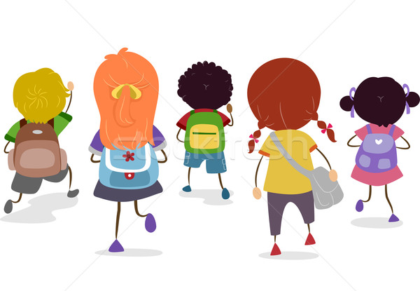 Iskola szatyrok illusztráció csoport gyerekek különböző Stock fotó © lenm