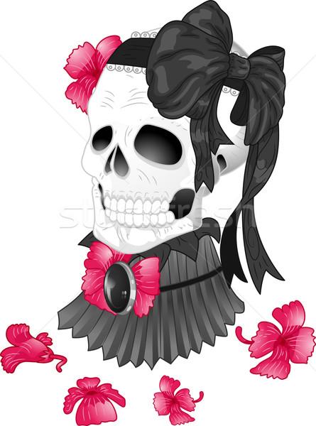 Skull Tattoo Ribbon Victorian Stock photo © lenm