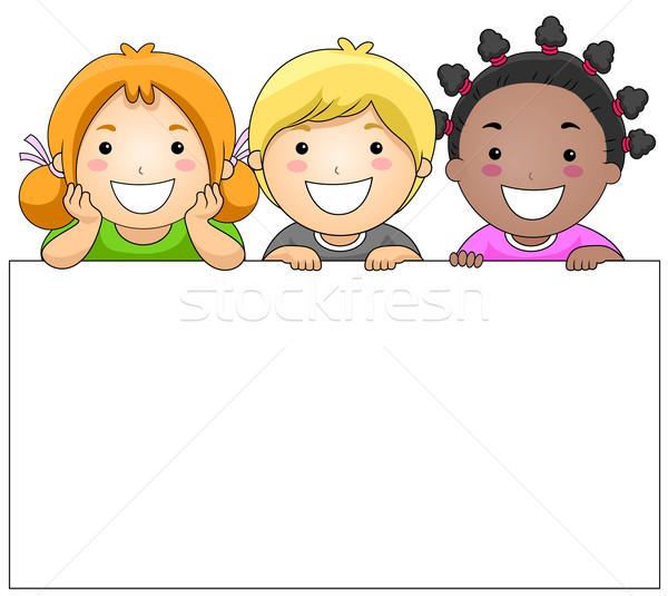 çocuklar tahta beyaz kız çocuklar mutlu Stok fotoğraf © lenm