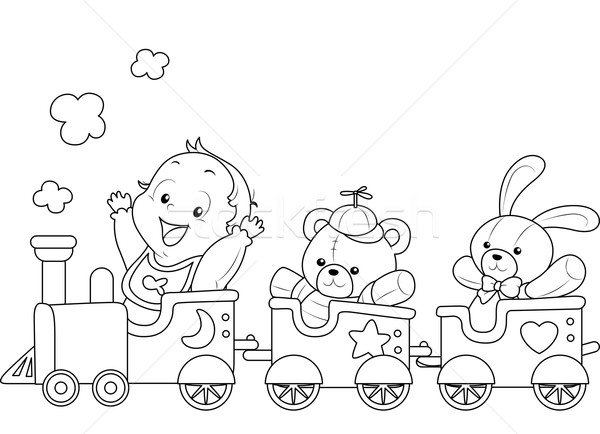 Coloring Page Baby Toy Train Stock photo © lenm