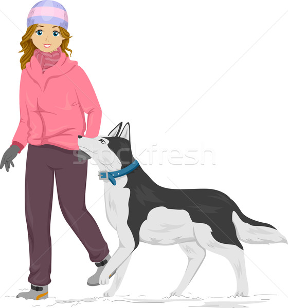 девушки Husky иллюстрация ходьбы женщину Сток-фото © lenm