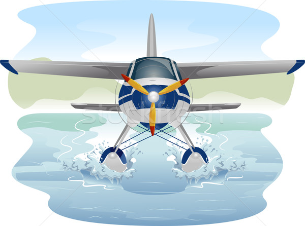 Watervliegtuig illustratie vliegtuig vliegtuig vliegtuigen vector Stockfoto © lenm