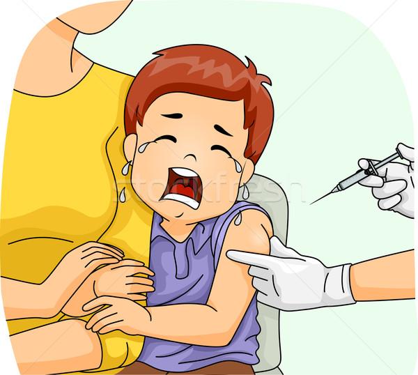 Kid jongen spuit shot huilen illustratie Stockfoto © lenm