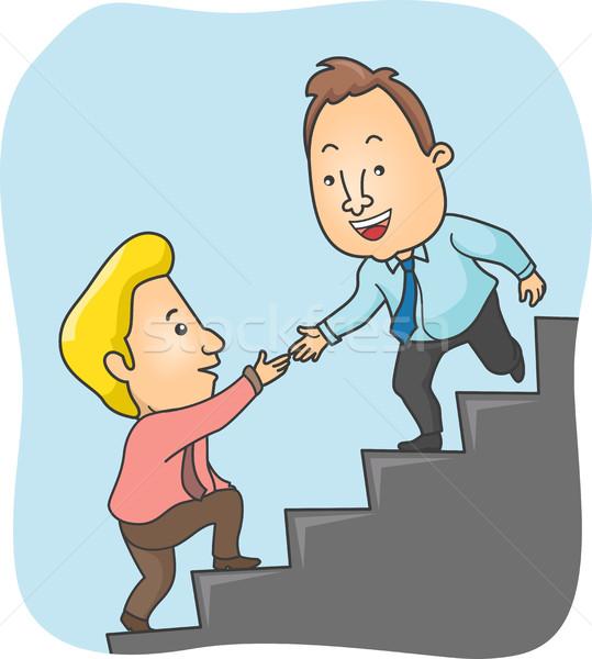 Mannen top trap helpen man beneden Stockfoto © lenm