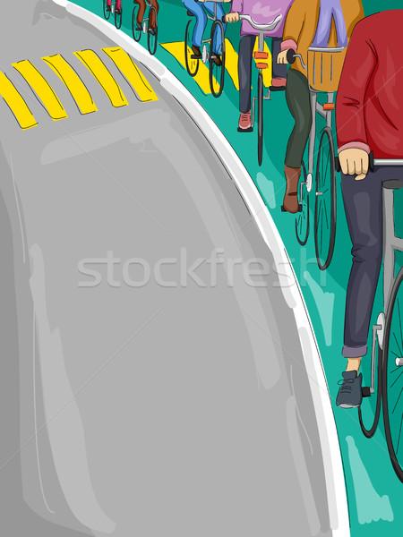Emberek bicikli sáv illusztráció biciklisták nő Stock fotó © lenm