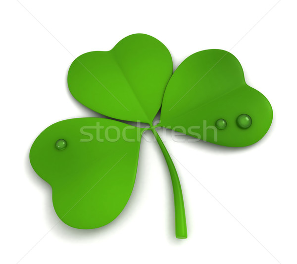 Shamrock 3d illustration isolé blanche feuille vert Photo stock © lenm