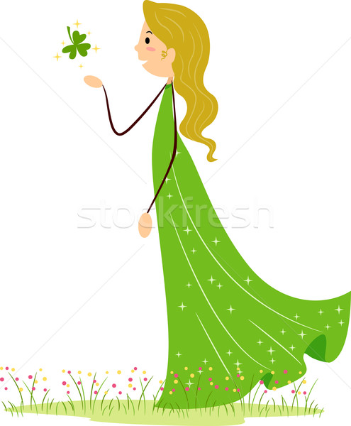Femme Shamrock illustration vert trèfle Homme Photo stock © lenm