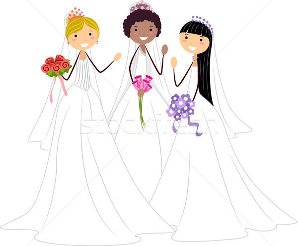 Triple Wedding Stock photo © lenm