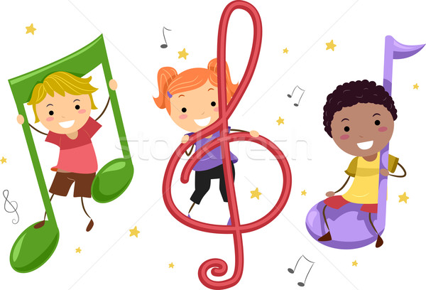 Musik Kinder Illustration Kinder spielen Musiknoten Kind Stock foto © lenm