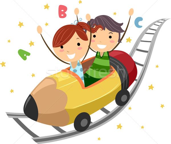 Lápis ilustração crianças equitação escolas criança Foto stock © lenm