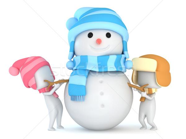 Ragazzi pupazzo di neve illustrazione 3d bambino inverno Foto d'archivio © lenm