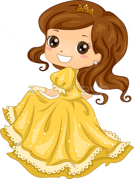 Princesa vestido ilustração menina criança feminino Foto stock © lenm