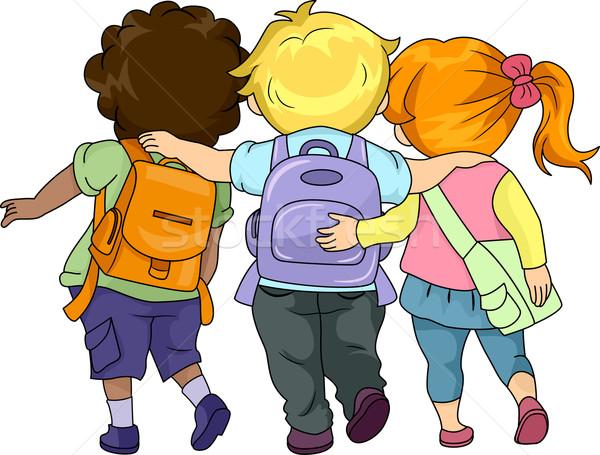 Stock fotó: Gyerekek · sétál · együtt · illusztráció · iskola · lány