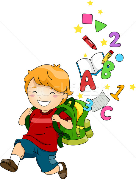 Boy Kid with a Backpack of ABC's and 123's Stock photo © lenm
